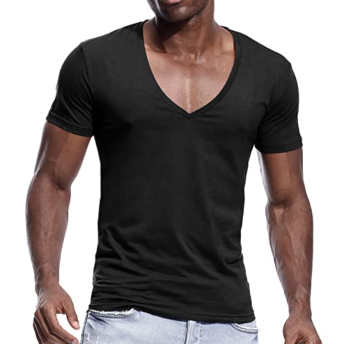 075e72cb080b Buy Mens Deep V Neck T Shirts Slim Fit Basic Tee Shirt Short Sleeve Sexy Top  with Ubuy Kuwait. B07L9L91XS