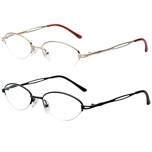 4.00 Executive Rectangle compact frame 2 pr SEMI RIM clear  READING GLASSES