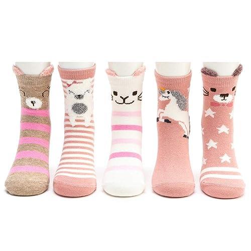 5 Pairs Cute Toddler Girls Fun Crew Socks Ordenado Seamless Kids Socks