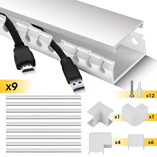 Cable Trunking Stageek Desk Wall Cable Management System 3 5 Meter Open Slot Self Adhesive Cable Tidy Wire Cover Concealer Raceway For Home And Office Use 9 X 39cm Lengths White Buy