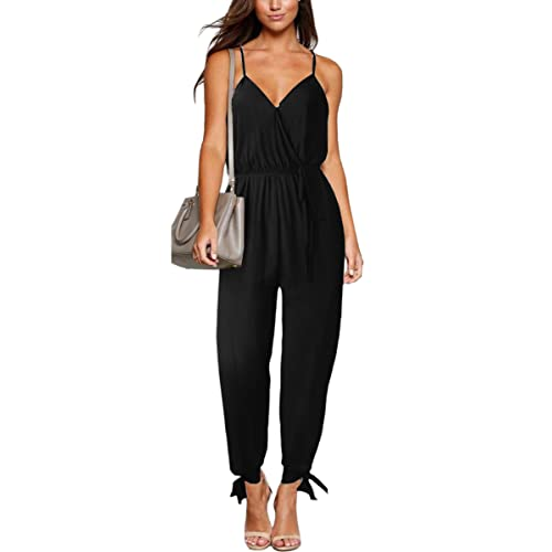 ECOWISH Womens V Neck Spaghetti Strap Drawstring Waisted Long Pants Jumpsuit Rompers