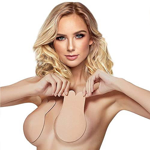 Deenor Sticky Strapless Bra Stick on Bra Invisible Backless Bra Reusable Adhesive Push Up Bra for Women MG