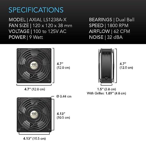 Quiet Muffin Fan 120V AC 120mm x 38mm Low LS1238A-X AC Infinity AXIAL LS1238