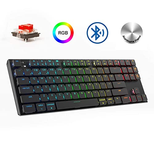 Aluminum Frame for Gaming and Typing Keychron K2 Wireless Bluetooth//USB Wired TKL Mechanical Keyboard Black 84 Keys RGB LED Backlit Red Switch N-Key Rollover
