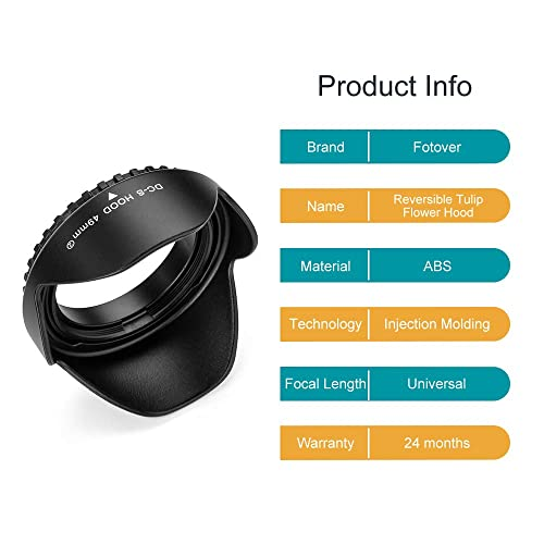 77mm Hollow Lens Hood Universal Metal Hollow Vented Tilted Curved Lens Hood Sunshade with Centre Pinch Lens Cap for Leica Canon Nikon Sony Pentax Olympus Fuji Camera Microfiber Cleaning Cloth