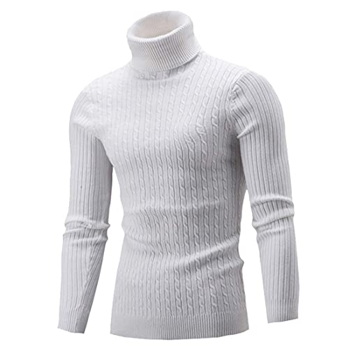 MoneRffi Mens High Neck Sweater Solid Simple Slim Fit Hedging Turtleneck Knitted Long Sleeve Jumper Pullover Tops