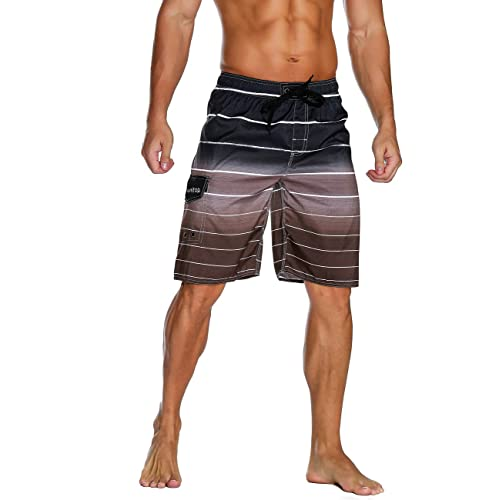 Colorful Printed Coconut Tree Long Swimming Trunks Quick Dry Board Shorts with Mesh Lining Cogild Mens Swim Trunks