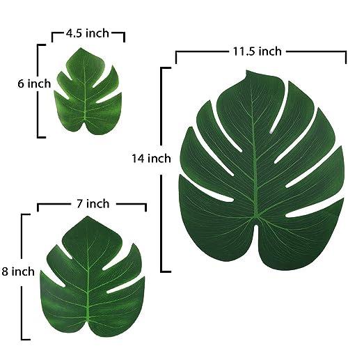 66PCS Moon Boat Tropical Palm Leaves Plant Imitation Leaf-Hawaiian// Luau//Jungle Party Table Decorations
