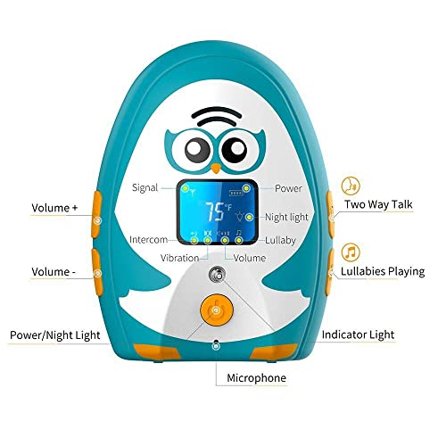 TimeFlys Digital Audio Baby Monitor Tcrown 2 Parent Unit Temperature Vibration Lullabies Rechargeable Battery USB Connection Paging Zero Emission at Night Mode Two Way Talk