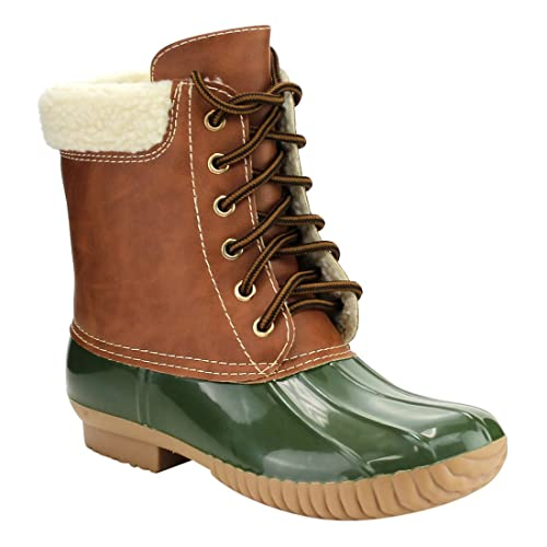 cf9d1b1ca9 AXNY Womens Dylan-3 Two Tone Lace up Faux Sherpa Lined Rain Snow Duck Boot
