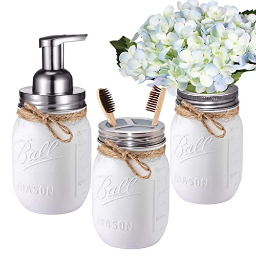 Mason Jar Bathroom Set 3 Piece Foaming Soap Dispenser Toothbrush Holder Flower Vase For Wedding House Decor Countertop And Vanity Organizer Bathroom Kitchen Farmhouse Decor Brushed Nickel Buy Products Online With Ubuy Kuwait In