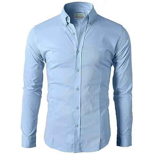 Lyon Becker Mens Slim Fit Casual Shirt Long Sleeve Formal Work Shirts