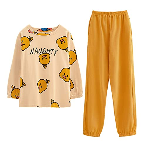 GOSO Girls Pyjamas Set Cute Kids Pjs Pajama Sleepwear Cartoon Print Tops and Long Pants Nightwear Children Outfit 8-14 Years