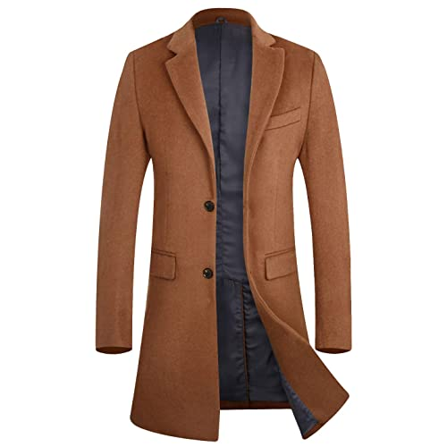 FASHINTY Mens Classical Bussiness Style Turndown Collar Wool Jacket #00237