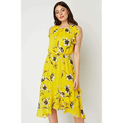 Roman Originals Women/'s Fit and Flare Contrast Floral Dress Yellow