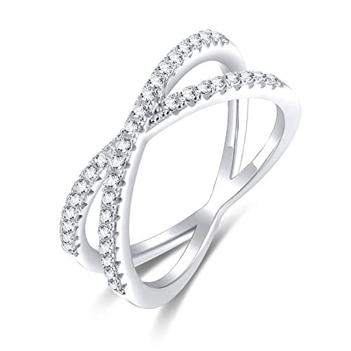 CloseoutWarehouse Cubic Zirconia Six Pave Rows Ring Sterling Silver