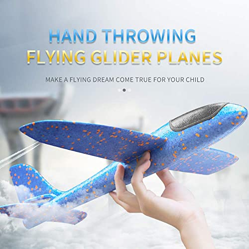 2 Pack LED Light Airplane,17.5 Large Throwing Foam Plane,2 Flight Mode Glider Plane,Flying Toy for Kids,Gifts for 3 4 5 6 7 8 9 Years Old Boy,Outdoor Sport Toys Birthday Party Favors Foam Airplane