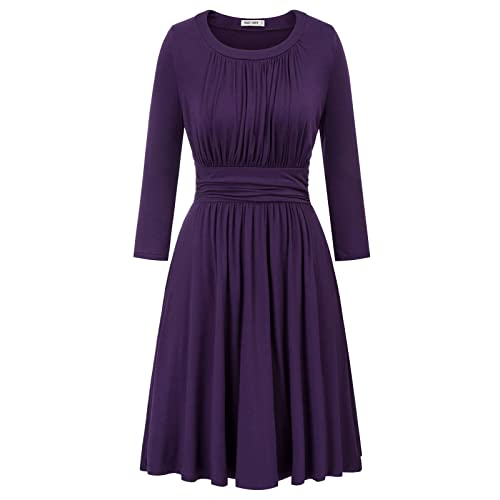 GRACE KARIN Womens Casual 3//4 Sleeve A-Line Party Cocktail Pleated Dress