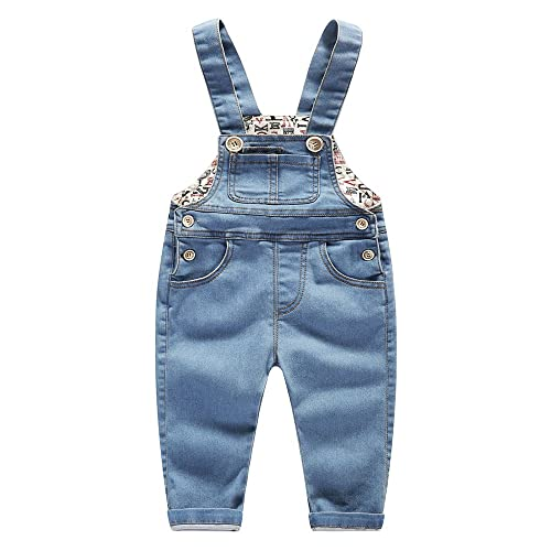 Kidscool Baby /& Little Boys//Girls Plaid Lining Denim Overalls Jeans