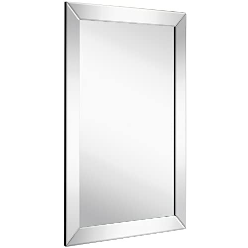 Buy Large Flat Framed Wall Mirror With 2 Inch Edge Beveled Mirror Frame Premium Silver Backed Glass Panel Vanity Bedroom Or Bathroom Mirrored Rectangle Hangs Horizontal Or Vertical 20