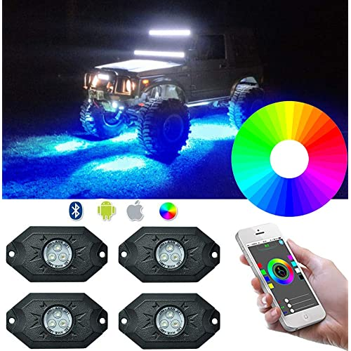 RGB LED Rock Lights Kit Auto Power Plus 4 Pods Neon LED Light Bluetooth Controller Music Mode Waterproof Underglow RGB led lights For Car Jeep Truck SUV ATV Boat Motorcycle Timing Flashing