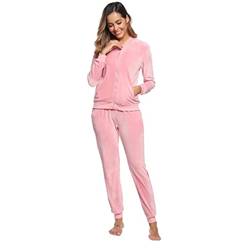Akalnny Womens Velour Tracksuit Set Long Sleeve Sweatsuit Top and Bottom Casual Loungewear Joggers 2 Piece Set