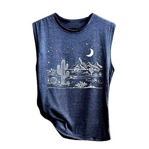 Women Desert Starry Night Shirt Cactus Tank Top Muscle Shirt Tee Tops