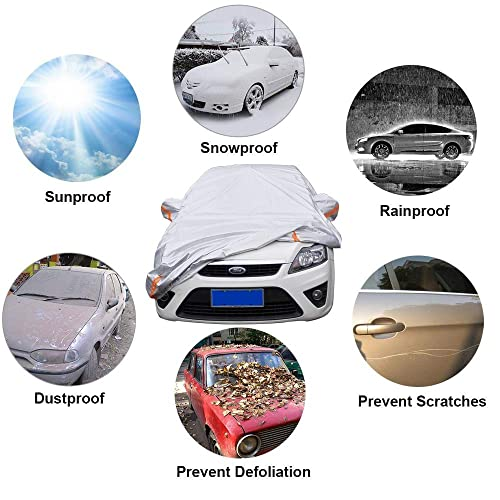 Outdoor Full Cover Rain Sun UV Protection with Zipper Cotton Up to 177 kayme 6 Layers Car Cover Waterproof All Weather for Automobiles Universal Fit for Sedan