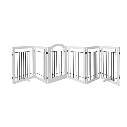 Doorway Pawland 144 Inch Extra Wide 30 Inches Tall Dog Gate With Door Walk Through Stairs