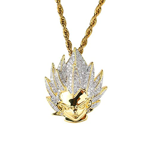 Moca Jewelry Hip Hop Iced Out Simpson Pendant Chain Necklace Cubic Zircon 18K Gold Plated for Men