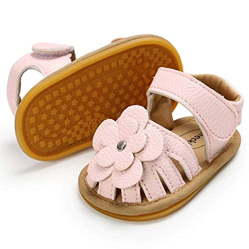 12-18 Months M US Toddler, A-Black Babelvit Baby Toddler Girls PU Leather Soft Closed Toe Summer Sandals Flower Princess Flat Shoes