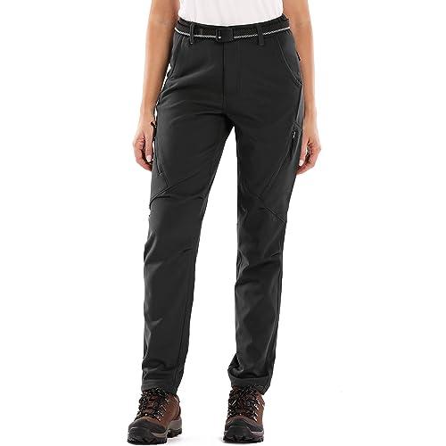 Womens Winter Warm Windproof Waterproof Sportswear Outdoor Hiking Fleece Pants,6080,Black,34