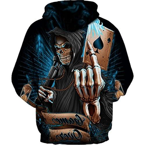 Long Sleeve Hoodie Sweatshirt Kangaroo Pocket Mens Fleece LA-Skull-Hand
