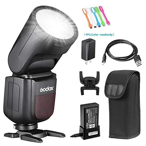 Recycle Time 2600mAh Lithium Battery 1.5 sec Godox V1-N TTL Round Head Flash Speedlite 1//8000s HSS 10 Level LED Modeling Lamp with AK-R1 Round Head Accessories for Nikon