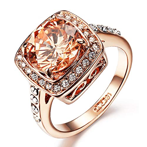 Square Halo Ring 14k Rose Gold Austrian Crystal Cubic Zirconia Engagement Ring,Size 6-10