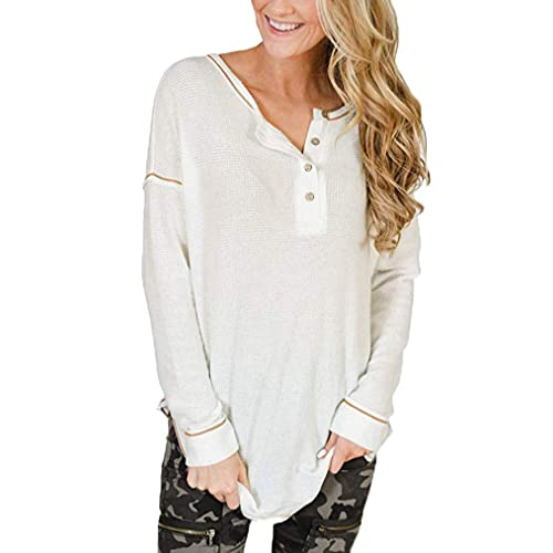 PLUS SIZE WOMENS LOOSE COMFY WAFFLE KNIT PULLOVER LONG SLEEVE TUNIC SWEATER