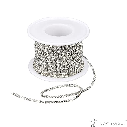 Prettygood7 Fashion Crystal Rhinestone 2 Row Close Chain Clear Trims 1 Yard for Wedding Sewing Craft DIY Decoration