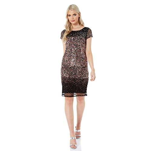 Ladies Glitter Sparkly Bodycon Dresses for Special Formal Party Dance Dinners Ball Prom Occasion Evening Wear Roman Originals Womens Sequin Embellished Angel Sleeve Dress