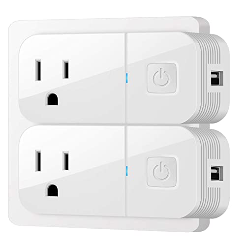 Google Home to Remote Control Wireless Mini Smart Plugs Outlet USB Charging Wifi Socket Compatible with  Alexa Button Switch and More by IOS//Android Devices VIMVIP White 2 Pack Smart Plug