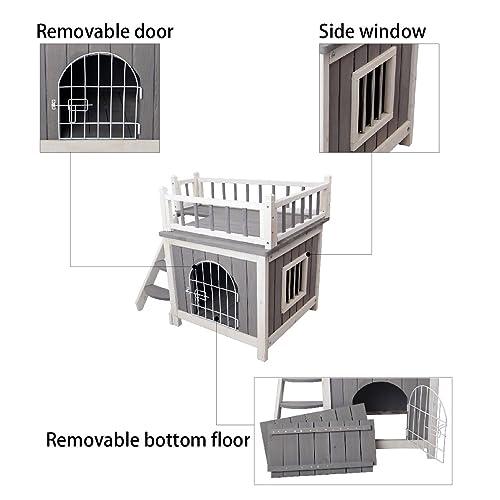 Buy Petsfit Cat House Indoor Cat Kennels Wooden Dog House With Steel Lockable Door Indoor Cat House With Balcony Design Durable Grey Online In Kuwait B01e8qej44