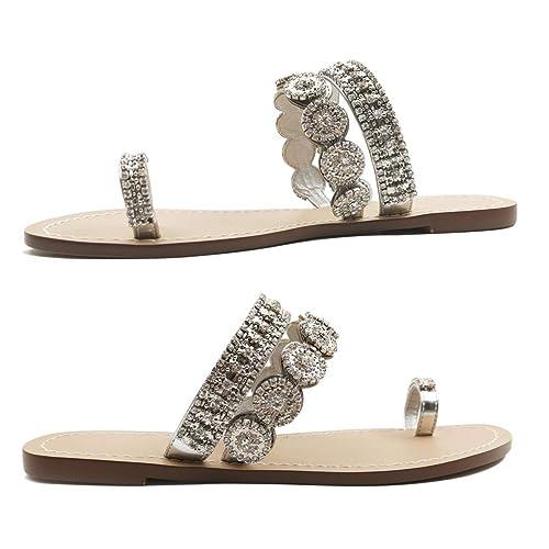 Phorecys Womens Summer Flat Ethnic Toe Ring Comfy Sandals