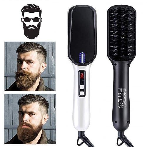 95166865909e JIALWEN【2019 New】Ionic Long Beard Straightener Comb, Hair Straightening  Brush for Man and Women, Electric Dual Voltage - Portable Ceramic Heat ...