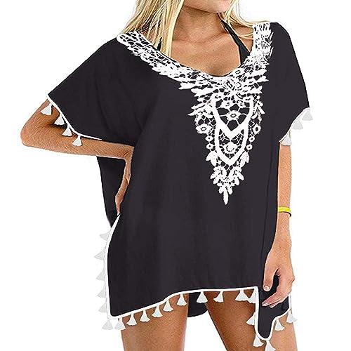3097128c7a Buy SelfieGo Women's Stylish Chiffon Tassel Beachwear Bikini Swimsuit Cover  up with Ubuy Kuwait. B07PHDN7N9