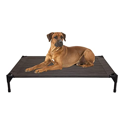 Veehoo Elevated Dog Bed Portable Raised Pet Cot Waterproof Breathable Mat Durable Textilene Mesh Fabric No Slip Feet Indoor Or Outdoor Use