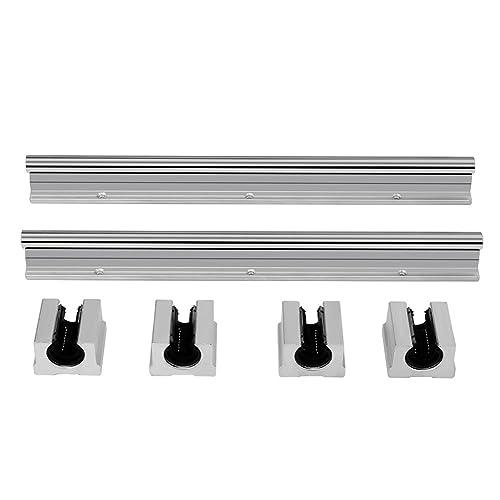 4Pcs Bearing Slide Block High Accuracy Durable Anti-Rust Linear Bearing 2Pcs 300mm12mm Linear Slide Rail Shaft