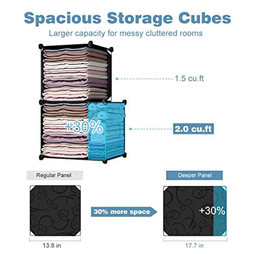 Furniture for Clothes JS8SPMI8LL LANGRIA 30-Cube DIY Modular Shelving Storage Organizer Extra Large Wardrobe with Clothes Rod Patterned Black