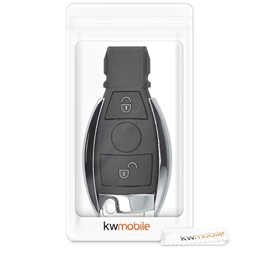 only Keyless Go - Black Protective Plastic Key Fob Shell Replacement for Mercedes-Benz 2 Button Car Key kwmobile Car Key Case for Mercedes Benz