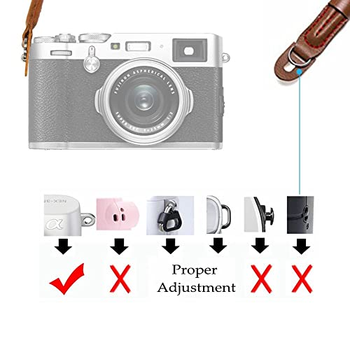 Handmade Comfortable Cotton Camera Neck Shoulder Strap Compatible for Sony A7 A9 A6000 A6300 A6500 Fuji X-T30 X-T20 X-T3 X-T2 X70 ILCE M10 Mirrorless Cameras Safety Tether Black
