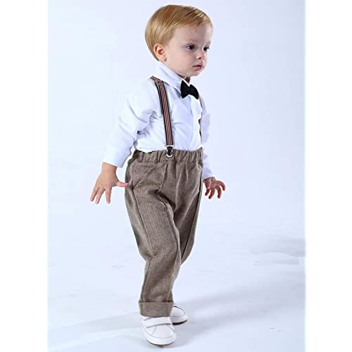 Shirt with Bowtie 1-4 Years Pants with Supenders+ Beret Hat mintgreen 4pcs Baby Boys Suit Set Waistcoat