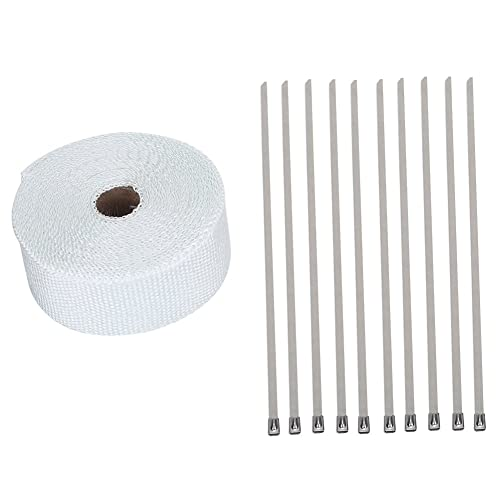NATGIC 15M Car Motorcycle Exhaust Heat Wrap Tap Header Glassfiber Wrap Kit 2 x50Ft Blue 8PCS 11.8 inch Stainless Locking Ties